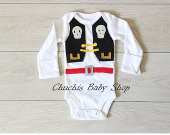 Pirate Boy Halloween Costume Baby Pirate Onesie with Eye-patch Baby Outfit Baby Pirate Clothes