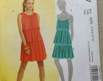 Pullover A-Line Dress with Multiple Tiers and Neckline Variations  in Size 4-12 Complete Uncut/FF McCall's Sewing Pattern  5877