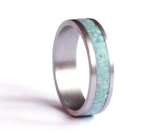 Mens Ring, Titanium Ring, Stainless Steel Wedding Band, Turquoise Wedding Ring,
