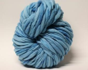 Thick Thin Yarn Handspun Merino Wool Slub  tts(tm) Merino Hand dyed Half-Pounder Blue 02 Super Bulky