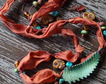 Unlisted - Autumn Necklace - Fall Necklace - Leaf Necklace - Long Beaded Necklace - Silk Necklace - Burnt Umber Necklace - Bead Soup Jewelry