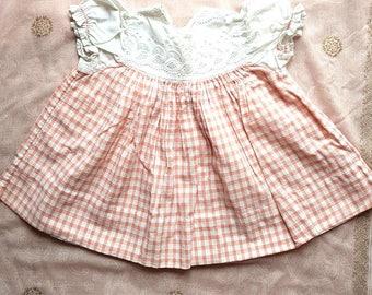 I960s Vintage Gingham Baby Girl's Smock Top