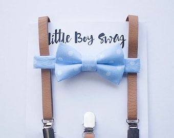 Boys Blue Polka Dot Bow Tie Tan Leather Suspenders, Boys Cake Smash, Baby Boy Bow Tie, Ring Bearer Outfit, Kids Outfits, Boy First Birthday