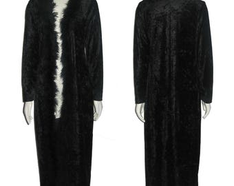 Vintage Urban Girl Black Stretch Velour Feather Mariboa Trim Multi-functional Goth Grunge Rocker Elegant Long Cover-Up Jacket Coat Dress Med