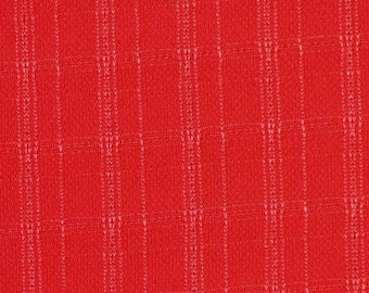 "1/2 YARD, JERSEY KNIT, Red Metallic Jacquard Plaid, 63"" Wide Fashion or Lining Fabric, Semi Sheer, Lightweight Polyester Acrylic, B20"