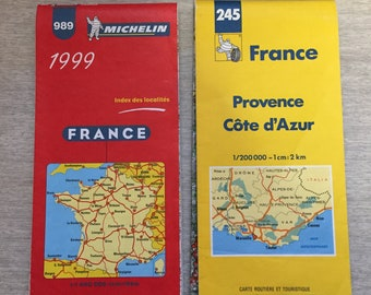 1999 Michelin Map of France and 1998/1999 Michelin Map Provence Cote d'Azur
