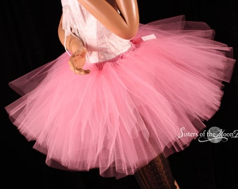 Paris Pink tutu skirt puffy three layer petticoat dance costume roller derby race petticoat wedding - You Choose Size - Sisters of the Moon