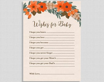 Wishes For Baby Cards, Fall Wreath Baby Shower Activity, Boho Autumn Shower Game, DIY Printable, INSTANT DOWNLOAD