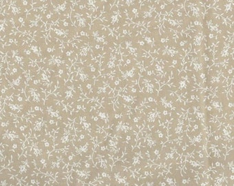 """White on Teastain Floral Calico 108"""" wide back 100% cotton fabric"""