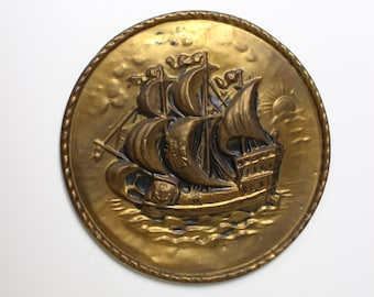 Vintage Hammered Brass Tall Ship Wall Plate
