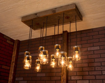 Mason Jar Lights With Reclaimed Wood and 10 Pendants.      R-1434-CMJ-10
