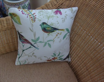 Cushion Cover 'Bird Song' by Prestigious Textiles Leaves,Birds,Botanical,Floral. 12 inch Square accent cushion cover