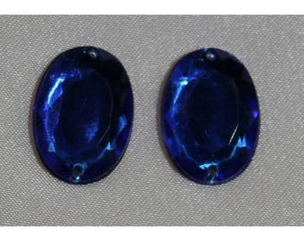 oval acrylic rhinestones - 18mm x 13 mm - blue