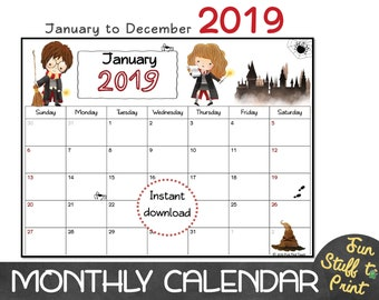 Wizard calendar 2019 for wizards and HARRY POTTER fans - PRINTABLE - planner