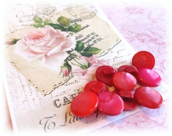 10 Red/Fuchsia PEARL Shank Vintage Buttons from Muscatine, Iowa