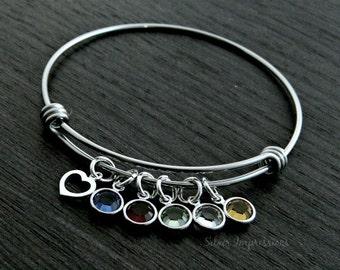 Birthstone bangle / Wire Bangle Bracelet / Mother bracelet / Grandma Bracelet