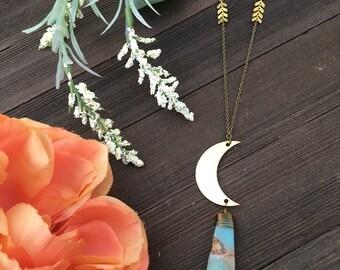 amazonite drop crescent moon statement necklace