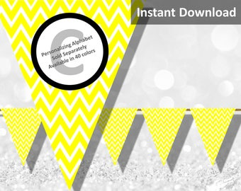 Yellow Chevron Bunting Pennant Banner Instant Download, Party Decorations