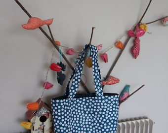 Tote bag (Tote) reversible blue-green canvas with polka dots