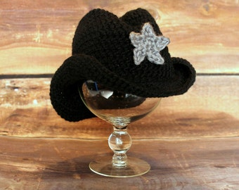 Cowboy Hat - Cowgirl Hat with Removable Star - knit cowboy hat crochet cowboy baby child toddler infant newborn tan brown black grey