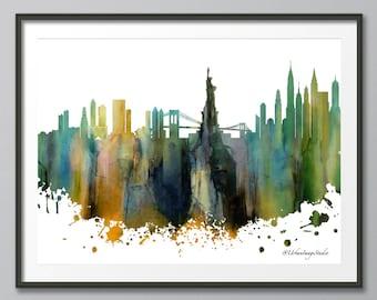 New York Skyline, Skyline, Urban Silhouette, Cityscape, Art Print, Poster, Modern Art, Painting