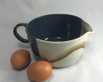 Pottery mixing bowl, ceramic bowl, batter bowl, prep bowl, gravy bowl