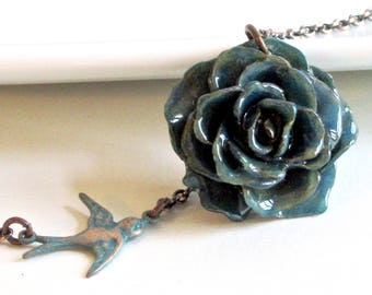 Real Rose Necklace -  Blue Rose, Flower Jewelry, Natural Preserved, Nature Jewelry, Botanical Jewelry, Bird Jewelry