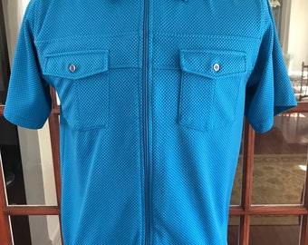 Vintage 1980's 1990's John Blair Zipper Short Sleeve Shirt