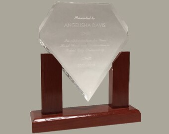 "7"" Diamond Acrylic Award on Mahogany Base with Custom Engraving"