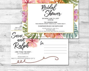 Tropical Bridal Shower Invitation Palm Tree Bridal Shower Tropical Leaves Bridal Shower Bachelorette Party Invite Printable Invitation