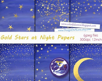 Gold Stars at Night Papers, Golden Midnight Papers, Starry Night Digital Paper, Celestial Backgrounds, golden star confetti papers