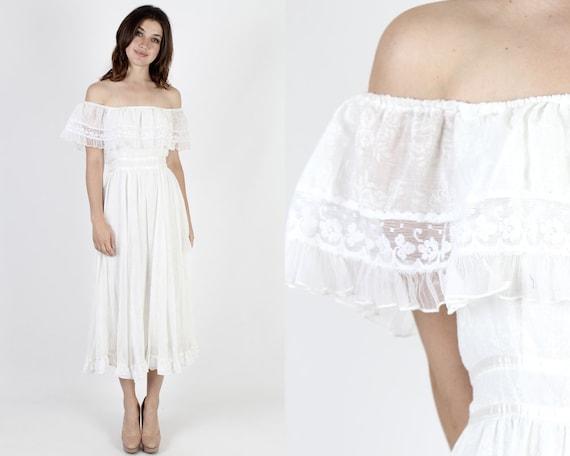Gunne Sax Dress Boho Wedding Dress Bridesmaids Dress Prairie Dress White Dress Vintage 70s Floral Lace Bohemian Ruffle Midi Maxi Dress S by Etsy