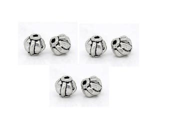 Set of 10 beads 6 mm x 6 mm Tibetan silver Lantern shape