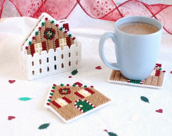 PATTERN: Gingerbread Coasters in Plastic Canvas