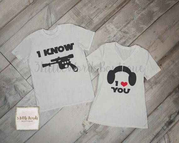 Disney Star Wars Han Solo and Princess Leia Matching Shirt Set g5TELDWMCc