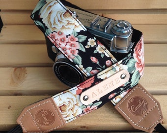 DSLR camera strap,Black Orange flower Camera Strap, leather camera Strap Gift for her
