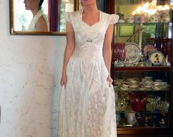COUPON SALE-Elegant 1940s Ivory Embossed Satin Drop Waist Petite Wedding gown-CRBoggs Designs Original