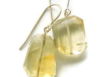 Citrine Earrings Quartz earrings Gemstone earrings Gold Earrings November Birthstone Bridsmaids Earrings