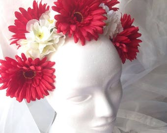 Red and white wedding flower crown fantasy bridal headpiece