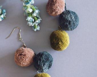 Pom pom earrings, christmas party statement earrings, colourful earrings, bold earrings, party earrings, statement pompom earrings