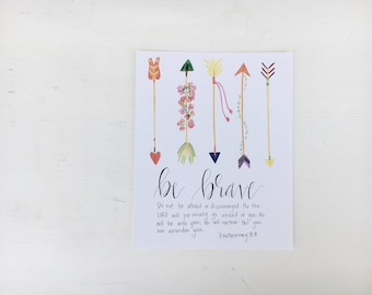 Be Brave with Colorful Arrows // Handlettered Deuteronomy 31:8 // Bible Verse