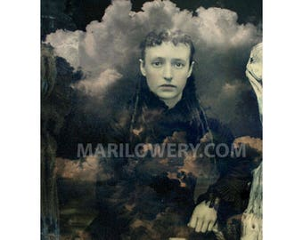 Haunting Collage Art Print, Altered Tintype, 8.5 x 11 Inch Print Unusual Portrait