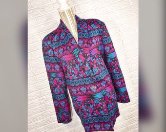 Vtg 80s DonnKenny Purple Magenta Teal Black Patterned Blazer
