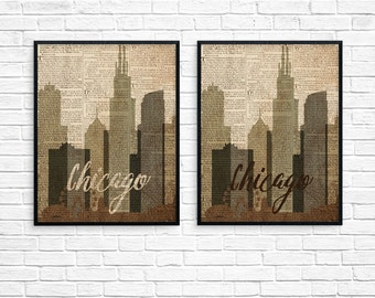 Chicago skyline, dictionary art print, chicago art, chicago poster, chicago print, chicago architecture, lakeshore chicago.