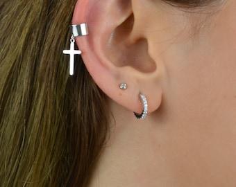 ear cuff non pierced, ear cuff no piercing, ear cuff silver, cross ear cuff, sterling silver ear cuff, minimalist ear cuff, Ear Wrap, cross