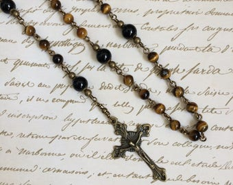 Five Decade Tiger Eye with Onyx gemstone rosary with Miraculous Medal in Antique Bronze