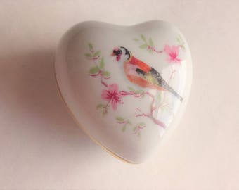 Limoges Heart Shaped Box with Bird by Fontanille & Marraud