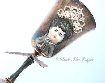 Queen Doll Head Goblet Wine Glass Vase Vintage Silver Plate Cup Lorelie Kay Designs Original
