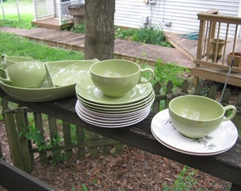 Melamine Or Melmac Dishes, Green And White With Ivy Design, 18 Assorted Pieces, 1960's Era,