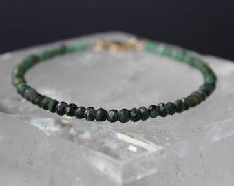 Emerald Bracelet, raw Emerald bracelet, May Birthstone, Gemstone Beaded Dainty Bracelet, Ombre Bracelet, Green Ombre